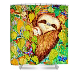 Rain Forest Survival Mother And Baby Three Toed Sloth Shower Curtain by Nick Gustafson