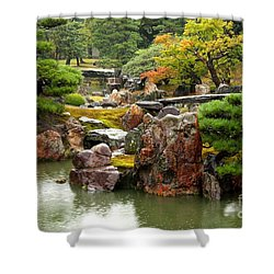 Rain On Kyoto Garden Shower Curtain by Carol Groenen