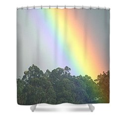 Rainbow And Misty Skies Shower Curtain by Erik Aeder - Printscapes