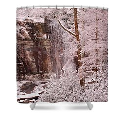 Rainbow Falls Smoky Mountain National Park -- Painted Photo. Shower Curtain by Christopher Gaston