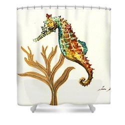 Rainbow Seahorse Shower Curtain by Juan Bosco