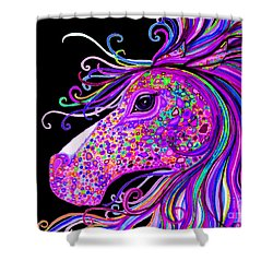 Rainbow Spotted Horse Head 2 Shower Curtain by Nick Gustafson