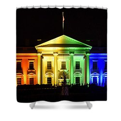 Rainbow White House  - Washington Dc Shower Curtain by Brendan Reals