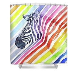 Rainbow Zebra Pattern Shower Curtain by Olga Shvartsur