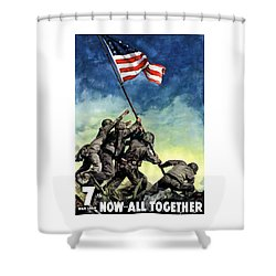 Raising The Flag On Iwo Jima Shower Curtain by War Is Hell Store