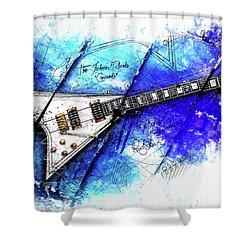 Randy's Guitar On Blue II Shower Curtain by Gary Bodnar