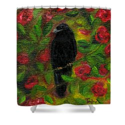 Raven In Roses Shower Curtain by FT McKinstry