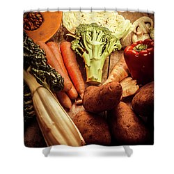 Raw Vegetables On Wooden Background Shower Curtain by Jorgo Photography - Wall Art Gallery