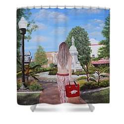 Razorback Swagger At Bentonville Square Shower Curtain by Belinda Nagy