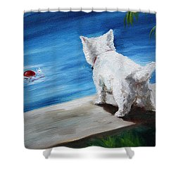 Red Ball Shower Curtain by Mary Sparrow