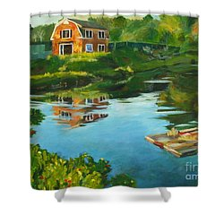 Red Barn In Kennebunkport Me Shower Curtain by Claire Gagnon