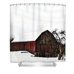 Red Barn In Snow Shower Curtain by Bill Cannon