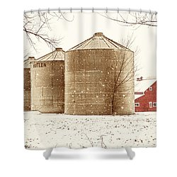 Red Barn In Snow Shower Curtain by Marilyn Hunt