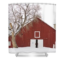Red Barn Winter Country Landscape Shower Curtain by James BO  Insogna