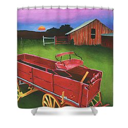 Red Buckboard Wagon Shower Curtain by Stephen Anderson