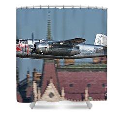 Red Bull North American B-25j Mitchell Shower Curtain by Anton Balakchiev