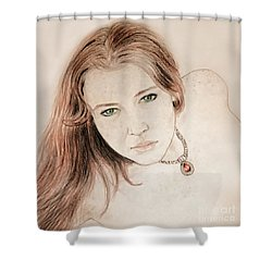 Red Hair And Freckled Beauty Shower Curtain by Jim Fitzpatrick