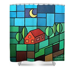 Red House Amidst The Greenery Shower Curtain by Jutta Maria Pusl