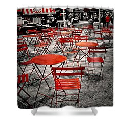 Red In My World - New York City Shower Curtain by Angie Tirado