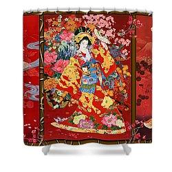 Red Oriental Trio Shower Curtain by Haruyo Morita