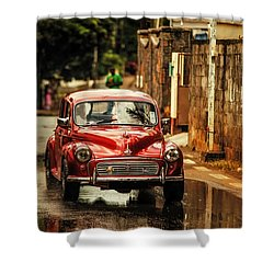 Red Retromobile. Morris Minor Shower Curtain by Jenny Rainbow