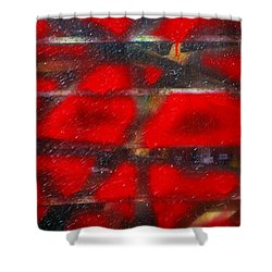 Red Scare Shower Curtain by Skip Hunt