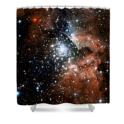 Red Smoke Star Cluster Shower Curtain by The  Vault - Jennifer Rondinelli Reilly