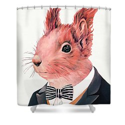 Red Squirrel Shower Curtain by Animal Crew
