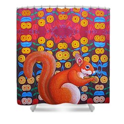 Red Squirrel Shower Curtain by Jane Tattersfield