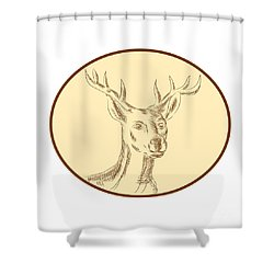 Red Stag Deer Head Circle Etching Shower Curtain by Aloysius Patrimonio