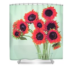 Red Sunflowers Shower Curtain by Amy Tyler