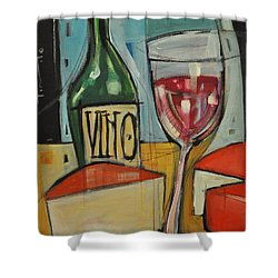 Red Wine And Cheese Shower Curtain by Tim Nyberg