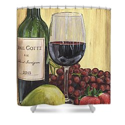 Red Wine And Pear 2 Shower Curtain by Debbie DeWitt