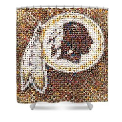 Redskins Mosaic Shower Curtain by Paul Van Scott