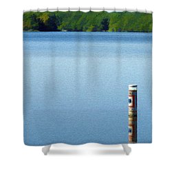 Reflected Warning Shower Curtain by Jeff Kolker