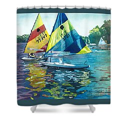 Reflections After The Race Shower Curtain by LeAnne Sowa