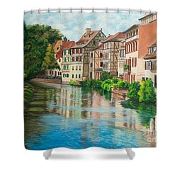 Reflections Of Strasbourg Shower Curtain by Charlotte Blanchard