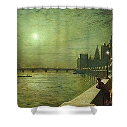 Reflections On The Thames Shower Curtain by John Atkinson Grimshaw