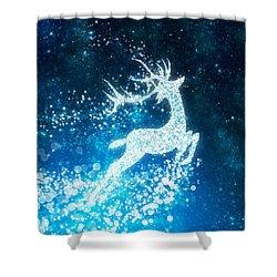 Reindeer Stars Shower Curtain by Setsiri Silapasuwanchai