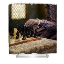 Renaissance Lady Playing Chess Shower Curtain by Jill Battaglia