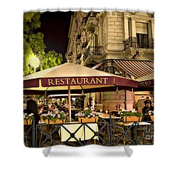 Restaurant In Budapest Shower Curtain by Madeline Ellis