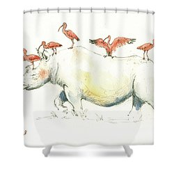 Rhino And Ibis Shower Curtain by Juan Bosco