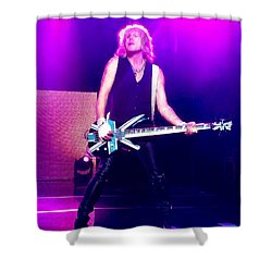 Rick Savage Of Def Leppard Shower Curtain by David Patterson
