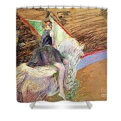 Rider On A White Horse Shower Curtain by Henri de Toulouse Lautrec