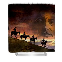 Riding Into Eternity Shower Curtain by Paul Sachtleben