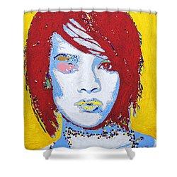 Rihanna  Shower Curtain by Stormm Bradshaw