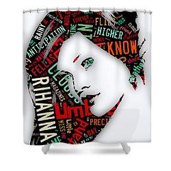 Rihanna Umbrella Lyrics Shower Curtain by Marvin Blaine