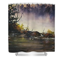 Rising Mist Shower Curtain by Madelaine Alter