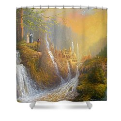 Rivendell Wisdom Of The Elves. Shower Curtain by Joe  Gilronan