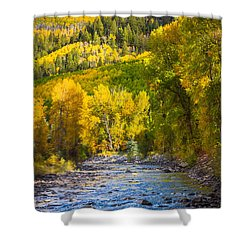 River And Aspens Shower Curtain by Inge Johnsson
